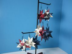 8 Origami Star Ornaments in Burgundy, Cream, and Navy Blue / German Star / Froebel Moravian Star / Handmade by littlewoodenhouse on Etsy
