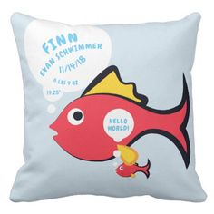 New baby boy little prince personalized throw pillow cartoon baby fish birth announcement stats throw pillow negle Images