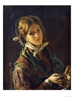 """""""Una mujer tejiendo"""" """"A Woman knitting"""" - 1872 -  Mose Bianchi (1840-1904) Pintor italiano, de Monza"""