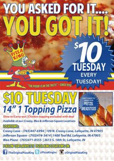 Pizza King $10 Tuesday Promo  #Pizza #Food #Graphic #Design #SocialFlyWay