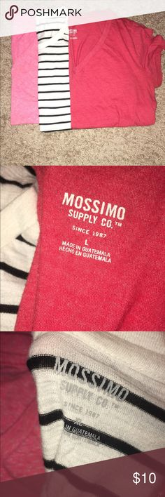 Lot of 3 tees 2 v-neck tees (pink & red) size Large and 1 round neck (black & white) size XL good condition, smoke free home, very comfortable Mossimo Supply Co Tops Muscle Tees