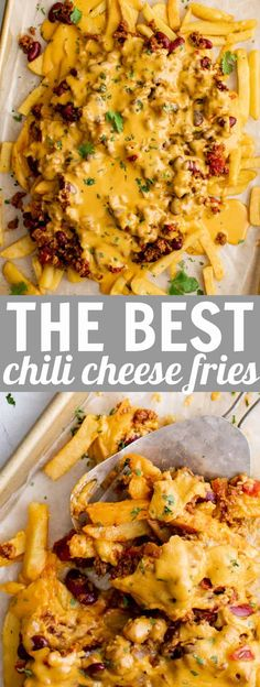 Easy Appetizer Recipes, Delicious Dinner Recipes, Best Appetizers, Lunch Recipes, Great Recipes, Yummy Recipes, Yummy Food, Chili Cheese Nachos, Chili Toppings