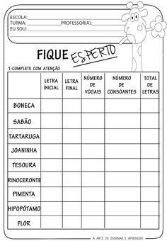 A Arte de Ensinar e Aprender: Atividade pronta - letra inicial, vogais , consoantes ...
