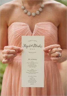 wedding program | whimsy font stationery | peach and gold wedding ideas | #weddingchicks