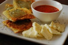 Baked not fried ravioli with fresh marinara sauce and mozzarella. / Appetizer & Finger Food Recipes
