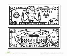 Preschool Life Learning Money Worksheets: Twenty Dollar Bill Coloring Page
