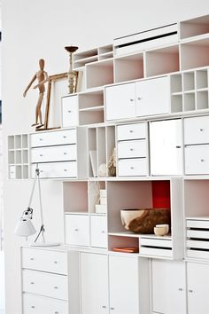 Home office with secretive little drawers, trays and cabinets for all your collection of creative supplies. #montana #furniture #storage #home #office #workplace #cabinets #creative #supplies #drawers #trays #danish #design #interior #inspiration