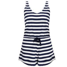 Solid & Striped The Romper Navy and White Stripe Playsuit ($85) ❤ liked on Polyvore featuring jumpsuits, rompers, navy, playsuit romper, short sleeve romper, navy romper, stripe romper and cotton rompers