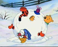 Pooh bear snow ball