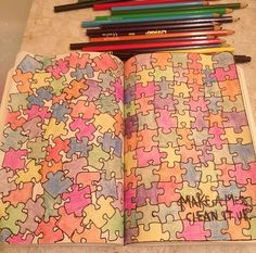 Wreck this journal ideas. Make a mess. Clean it up. Jigsaw.