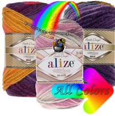Alize Superlana Midi Batik. Long colors. Multicolor yarn. Long Batik. Selfstriping Yarn multicolor yarn Color Choice  Fiber content: 25% wool, 75% acrylic Weight: 100g Length: 170 m Yarn Colors, Rainbows, Yarns, Etsy, Rainbow, Cable Knitting
