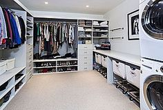 laundry in closet - wouldn't want it running at night, but you don't have to carry clothes around the house. Could also be a problem once you hit teenagers...