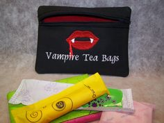 Vampire Tea Bags Tampon & Maxi Pad Bag Zippered by WoobiesGifts, $11.95