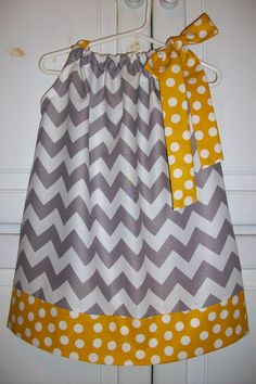 Pillowcase Dress CHEVRON Grey with Yellow by lilsweetieboutique, $19.99
