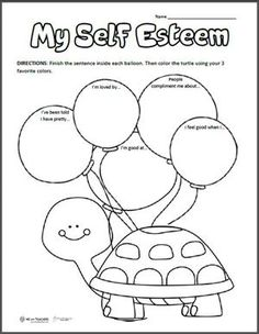 Free Printable of the Week: My Self-Esteem It's important that kids have positive self-esteem that encourages them to try new things, overcome challenges and be happy! esteem activities for kids crafts art therapy Self Esteem Worksheets, Counseling Worksheets, Self Esteem Activities, Therapy Worksheets, Counseling Activities, Art Therapy Activities, Worksheets For Kids, Activities For Kids, Self Esteem Crafts
