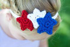 4th of July headband, little girl headband, baby headband, red white and blue, crochet stars, free shipping