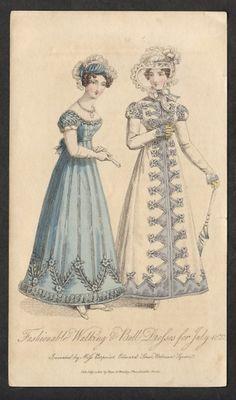 1822 (July),  ball dress & walking dress