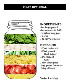 Salad in a jar is a great way to keep your lunch healthy and convenient. We rounded up the best mason jar salad recipes to inspire your lunch menu and make your co-workers jealous. Mason Jar Lunch, Mason Jar Meals, Meals In A Jar, Mason Jars, Healthy Salad Recipes, Healthy Foods To Eat, Veggie Recipes, Healthy Eating, Pea Recipes