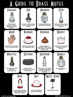 A Guide to Brass Mutes - the Harmon also has a hatred towards your trumpet and never stays in the bell. Music Jokes, Music Humor, Funny Music, Kids Trumpet, Trumpet Sheet Music, Marching Band Memes, Band Problems, Band Jokes, Band Director