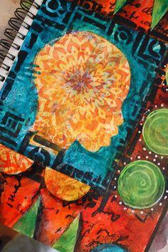 Gorgeous!! Jessica Sporn Designs: Art Journal Page Using Gelli Prints and Stencils