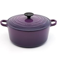 Le Creuset Round French Oven in Cassis. Get at least a 6 quart capacity to accommodate most of the soup recipes in the test kitchen cookbook