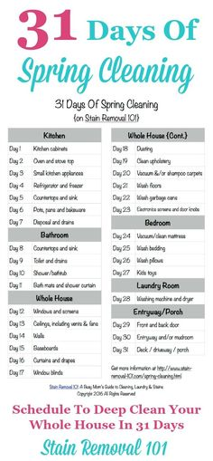 31 Days Of Spring Cleaning: Get The Plan Here Free printable 31 Days Of Spring Cleaning schedule, to deep clean your whole home in 31 days {courtesy of Stain Removal Deep Cleaning Tips, House Cleaning Tips, Cleaning Solutions, Cleaning Hacks, Cleaning Lists, Weekly Cleaning, Speed Cleaning, Household Cleaning Schedule, Cleaning Schedule Printable