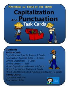 Capitalization and Punctuation Task Cards - set of thirty half-page task cards.  $