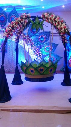 Amazing cradle ceremony decoration ideas for all your events. images for cradle decoration for naming ceremony from Quotemykaam catalogue. Desi Wedding Decor, Wedding Stage Decorations, Diwali Decorations, Festival Decorations, Flower Decorations, Baby Shower Balloon Decorations, 1st Birthday Decorations, Naming Ceremony Decoration, Marriage Decoration