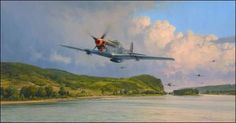 Air Superiority, by Robert Taylor -   In April 1945, with the War virtually over, P-51 Mustangs of the 357th Fighter Group sweep unopposed at low level through the beautiful Rhine valley.  The edition is personally signed by 4 Fighter Aces and pilots all of whom flew in Europe with the 357th Fighter Group. ($320)  #Aviation #Art