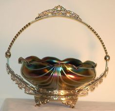 Loetz Iridescent, Pulled-Feather Glass Bride's Bowl On Ornate Metallic Stand c.1900
