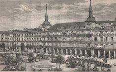 Antique print Plaza Mayor,Madrid Spain grabado 1883