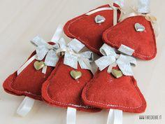 Set 5 pz Alberi Natale in panno lana da appendere - rosso scuro : Accessori casa di cristiana-farecreare