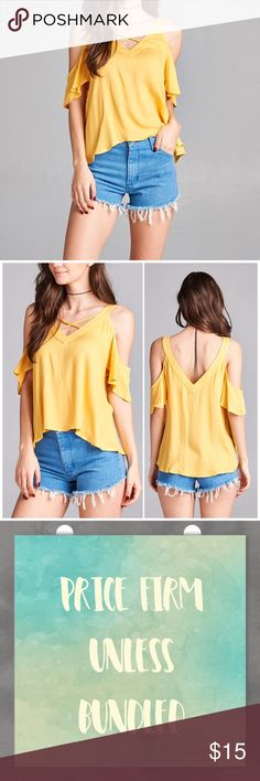 Yellow Cold Shoulder Strappy v neck top Yellow Cold Shoulder Strappy v neck top. Fits true to size small 4/6, medium 8/10 and large 12. 100% Rayon. Available in other colors in my closet. PRICE FIRM UNLESS BUNDLED. Bundle 3+ and save 15%! Tops