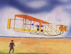 1940s Vintage AIRPLANE Print, 'Wright Brothers Plane', Perfect for Framing, Very Colorful, Man Cave, Boys Room, Nursery, Pilot, Airport, Sky