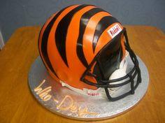 Bengals Football 3D Helmet #CincinnatiBengals #CincinnatiBengalsCake #ASpoonFullaSugar #GroomsCakes