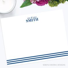Custom Notecards, Flat Note Cards, Newlywed Gift, Bridal Shower Gift For Bride, Bride and Groom Gift, Navy Blue, A2, Various Colors by SerenaRiveraDesigns