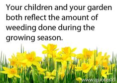Your children and your garden both reflect the amount of weeding done during the growing season