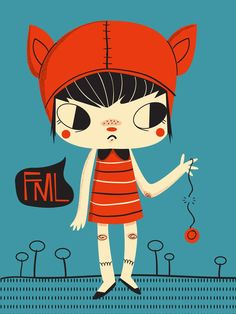 Urban dictionary tells me that FML means F*** my life. Goodness she's cross! Maybe her yo-yo just broke. It's annoying when that happens. Tsk.