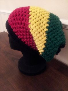 Slouchy Rastafarian style hat. As always made with love in every stitch!!! Find it at: http://needlesandstitches.storenvy.com/