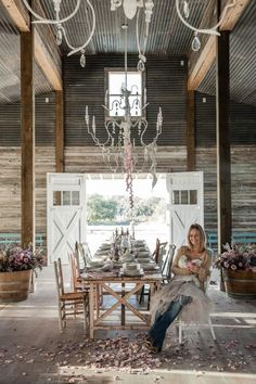 Rachel Ashwell Texas Ranch / Bed & Breakfast, near Round Top, Texas :: Love the old barn, chandelier, and farmhouse table!