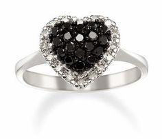 Black Diamond Heart Ring in 14k White Gold