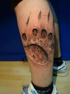 ... Tattoo 3D Tattoo Tattoo Artists Legs Tattoo Bears Paw Paw Prints