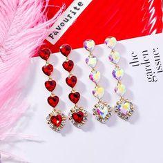 Heart Jewelry, Heart Earrings, Women's Earrings, Rhinestone Jewelry, Jewelry Party, Ladies Party, Shape Patterns, Fashion Earrings, Dangles