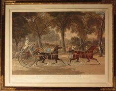 This 1839 coloured aquatint by Charles Hunt it titled a 'Trotting match against time'. Mr Burke of Hereford is shown driving Tommy and Gustavus in a bid to travel 45 minutes in under three hours. Burke succeeded and was awarded £100. The piece measures 23 ½ x 30 ½ in (59 x 77cm) and is available for £1250 as Grosvenor Prints. (Hickman ref: 1849)
