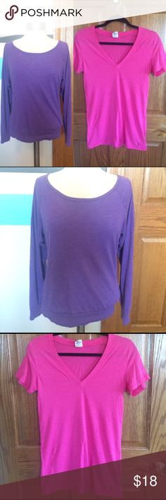2 Victoria's Secret PINK Shirts Purple Pink V-neck 2 Victoria's Secret PINK Basic Classic Shirts Tops Purple long sleeve Loose scoop neck shirt, Size XS, in very good condition   Hot Pink V-neck tee shirt, Size Small, has a little wear.   Please ask any questions  🚫No Trades🚫 📦Ask About Bundle Discounts💰 PINK Victoria's Secret Tops