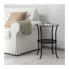 KLINGSBO Side table, black, clear glass 19 1/4x23 5/8