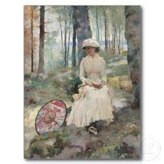 Albert Edelfelt - Under the birches, 1881  #postcards #edelfelt #albertedelfelt #finnishart #edelfeltcards