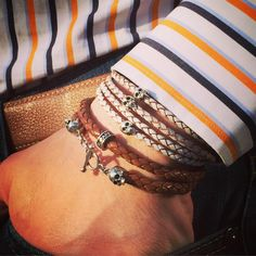 Stack of 2 bracelets by Flibustier Paris Maelstrom & Bellamy Leather and sterling silver