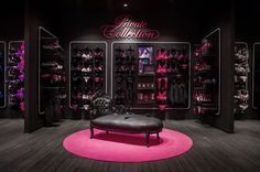 Hunkemöller Sexy Store on Behance Boutique Interior Design, Boutique Decor, Lulu Boutique, Lingerie Store Design, Dungeon Room, Underwear Store, Interior Concept, Playroom Furniture, Red Rooms