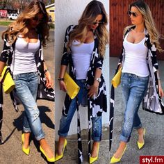Swans Style is the top online fashion store for women. Spring Fashion Outfits, Look Fashion, Fall Outfits, Womens Fashion, Street Fashion, Heels Outfits, Mode Outfits, Trendy Outfits, Yellow Shoes Outfit